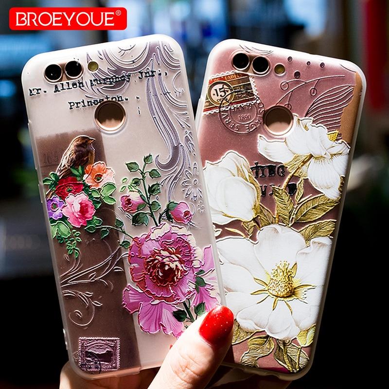 Caso Para Huawei P20 P30 P9 P8 P10 Lite 3D Alívio 10 TPU Flores Padrão Capa de Silicone Para Huawei Honor tampa Da Caixa de telefone Coque