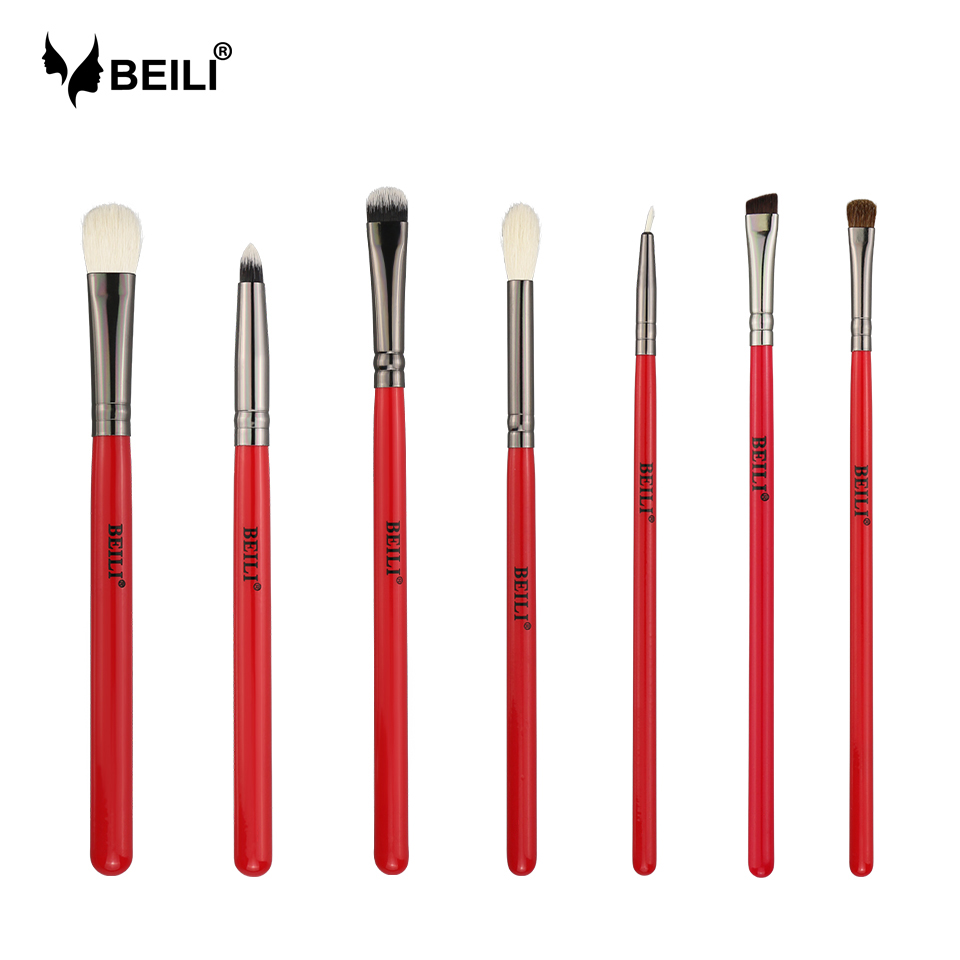 BEILI 7pcs Professional Makeup Brushes Set Cosmetics Crease Eye Shader Shadow Eyeliner Blender Natural Hair Cosmetics Brush Kit professional makeup brush 7pcs