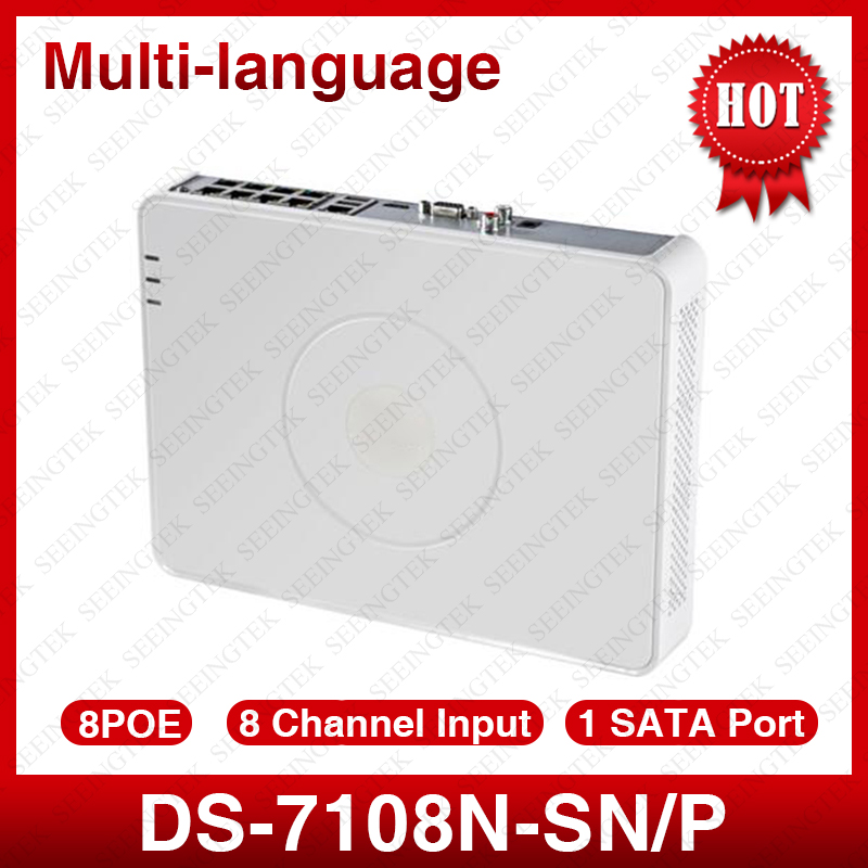 Hik  DS-7108N-SN/P Multi-language Plug & Play 8CH PoE NVR for HD IP Camera with 8 Independent PoE hik multi language ds 2cd6412fwd camera ds 2cd6412fwd c2 poe pinhole covert separated network camera for shop home surveillance