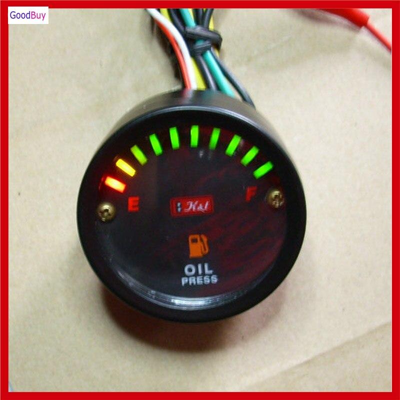 New Unversal 12v  24v Motorcycle Car Oil Fuel Gauge Led Oil Fuel Level Meter Gauge Indicator Displayer