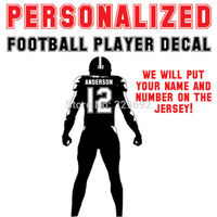 Football Athlete Custom Jersey Name And Number Vinyl Sports Sticker American Football Player Diy Wall Stickers