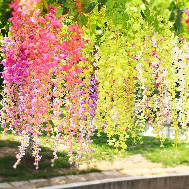 12pcslot wisteria artificial fake wisteria vine ratta hanging 12pcslot wisteria artificial fake wisteria vine ratta hanging garland silk flowers string home party mightylinksfo