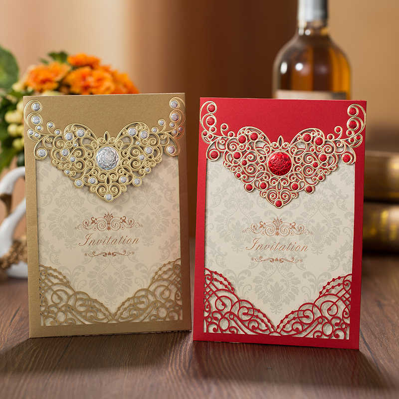 50pcs Red Gold Laser Cut Crown Flora Wedding Invitations Card Greeting Cards Customize Envelopes Wedding Event Party Decoration