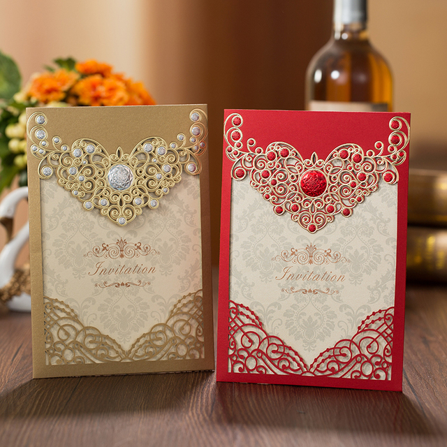 50pcs red gold laser cut crown flora wedding invitations card greeting cards customize envelopes wedding event - Wedding Greeting Cards