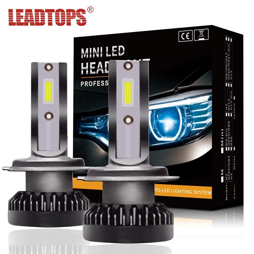 LEADTOPS H7 LED Mini 9005 coche faros H1 9006 H8 H9 H11 faro de coche Auto 12 v a prueba de agua 60 w BI