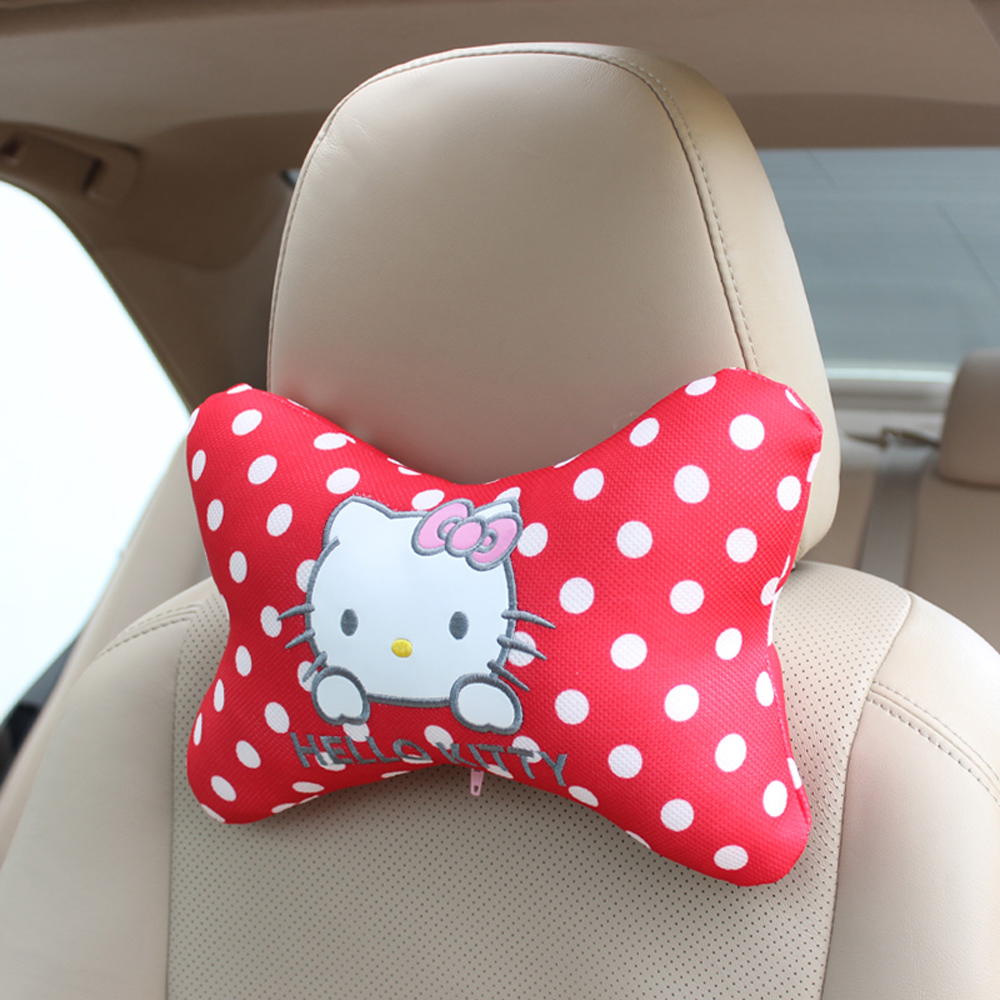 One pair pink hello kitty bowknot car styling car headrest car seat accessories china