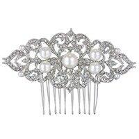BELLA 2015 Wedding Flower Ivory Pearl Hair Comb Pins Austrian Crystal Head Piece For Wedding Hair