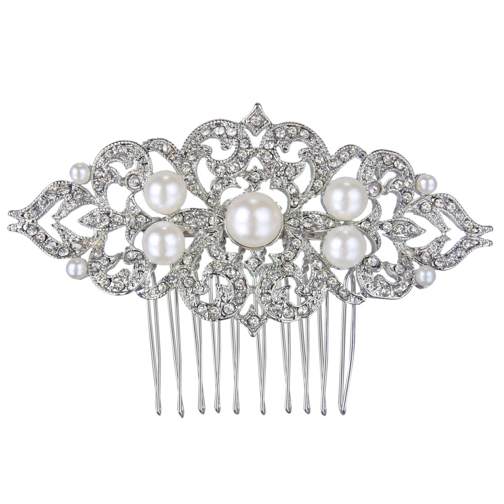 Online get cheap hair flower ivory aliexpress alibaba group bella wedding flower ivory color pearl hair comb pins austrian crystal head piece for wedding hair dhlflorist Choice Image