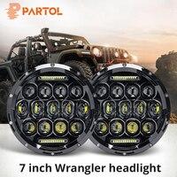 Partol 2x 7 Round LED Headlight Bulbs 150W 7 Inch Motorcycle LED Headlights DRL Driving Light Headlamp for Jeep Harley Davidson