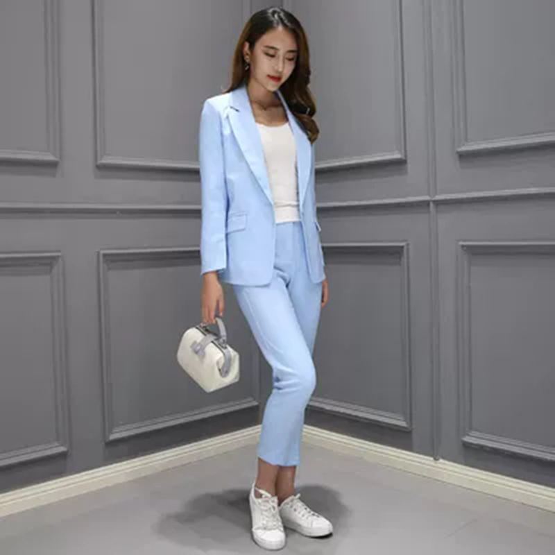 2 Piece Set Women Suit Female The New Career Suit Female 2019 Autumn Long - Sleeved Small Suit Jacket Trousers Casual OL Suit