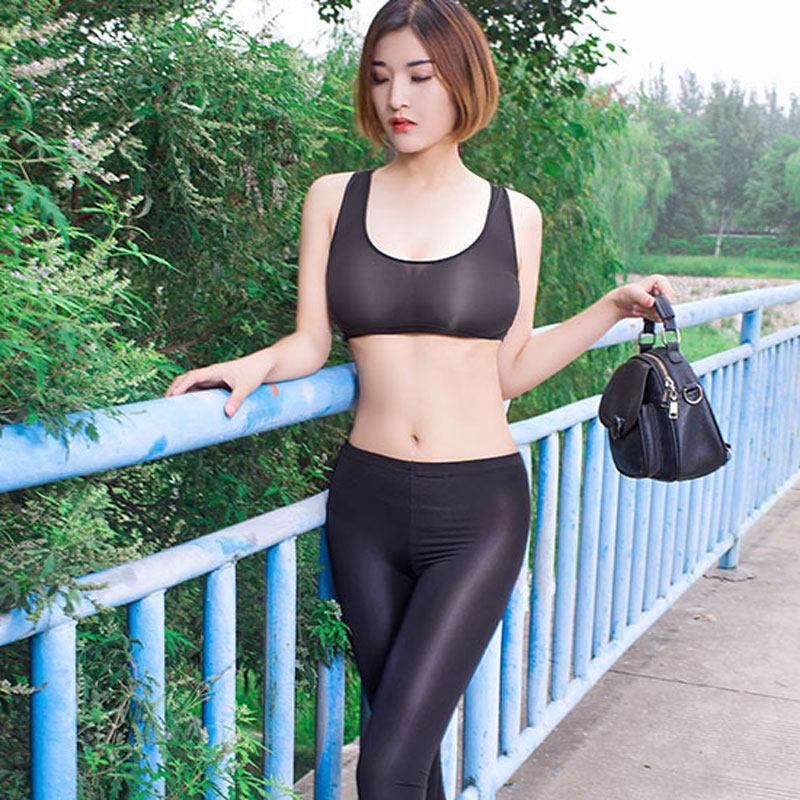 Sexy Women Candy Color Ice Silk Wetlook Transparent Thin Sexy Short Vest Low U Neck Tank Top Double Use Crop Tops Sexy Wear F8