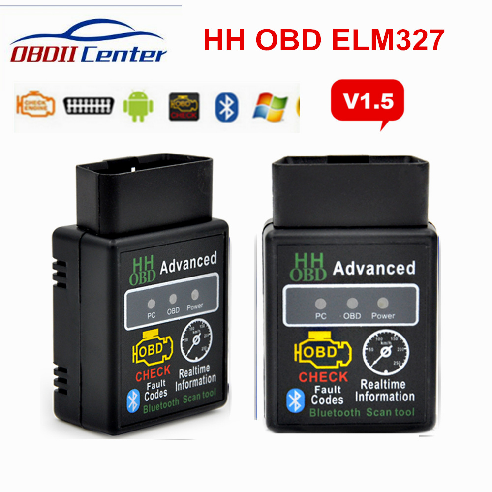 2018 Elm327 Bluetooth OBD2 V1.5 Car Diagnostic Interface ELM 327 1.5 HH OBD OBDII Scanner Fault Code Reader 9 OBD2 Protocols