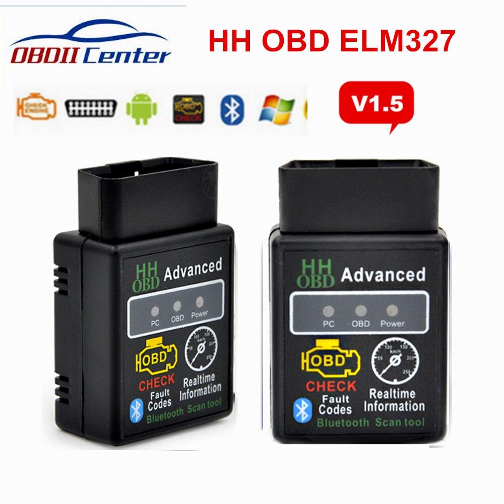 2018 Elm327 Bluetooth OBD2 V1.5 автомобильный диагностический интерфейс ELM 327 1,5 HH OBD OBDII сканер кодов неисправностей 9 OBD2 протоколы