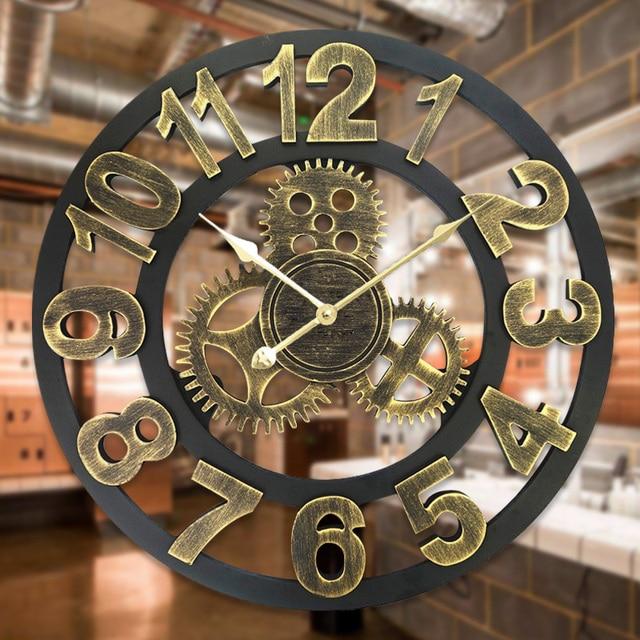 d89ade97b7a 3D Retro Decorativo Arte Luxo Grande Engrenagem Grande Relógio de Parede De  Madeira Do Vintage para
