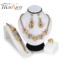 MUKUN Bridal Gift African Beads Jewelry Set brand Dubai Gold Colorful Jewelry Set big Nigerian Wedding woman jewelry set Design все цены