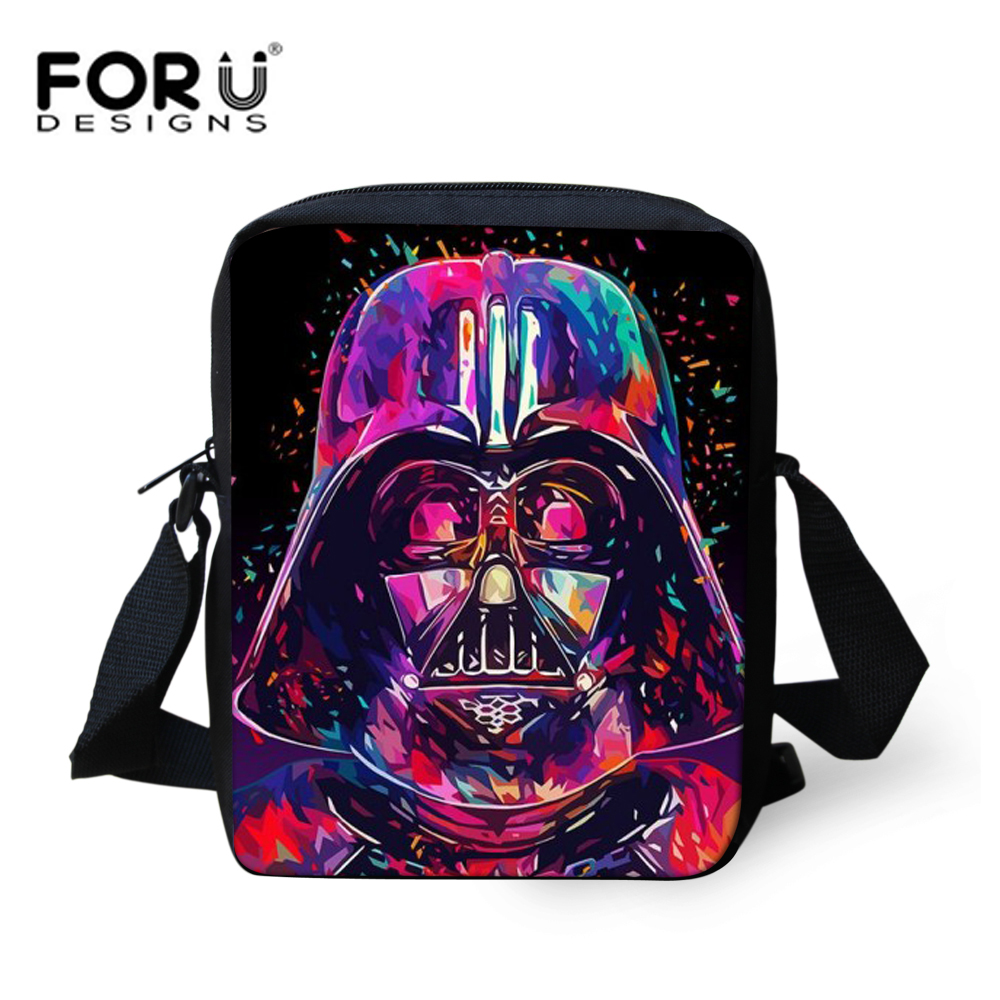 FORUDESIGNS 3D Cartoon Star Wars Bags for Kids Designer High Quality Crossbody Bookbags For Children Boys Girls Messenger bags star wars boys black
