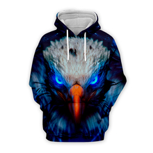 Unisex mens Galaxy space blue eagle 3d hoodies streetwear women animal printing sweatshirt autumn long sleeve zipper hooded coat
