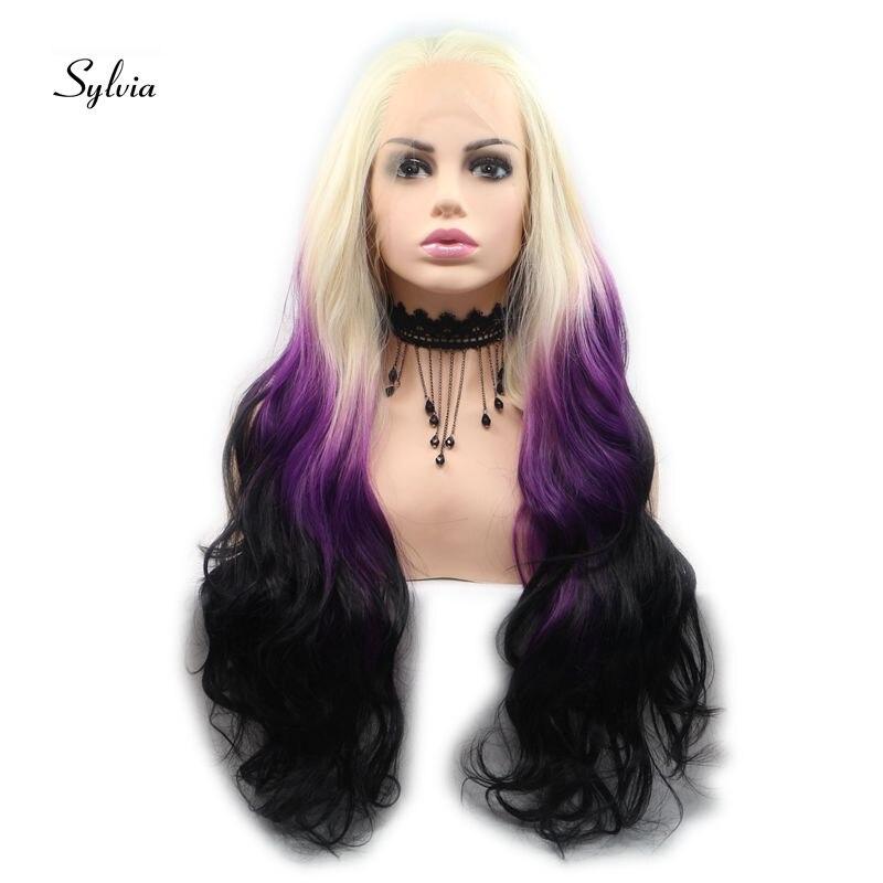 Sylvia longue Ombre perruques noir à violet/noir Ombre synthétique dentelle avant perruques résistant à la chaleur Fiber cheveux pour femmes perruques partie libre