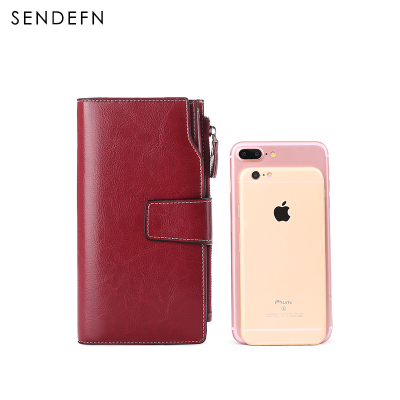 Купить с кэшбэком Sendefn 2020 New Split Leather Women Wallets Female Clutch Long Lady Wallet Zipper Purses For iPhone 7S
