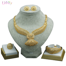 Liffly Bridal African Jewelry Sets Dubai Gold Nigerian Set for Women Turkish Wedding Gift