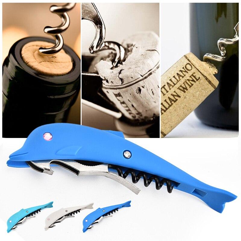 Practical Bottle Wine Opener Dolphin Shape Can Jar Beer Opener Creative Cork Screw Corkscrew Wine Cap Opener Kitchen Bar Tools