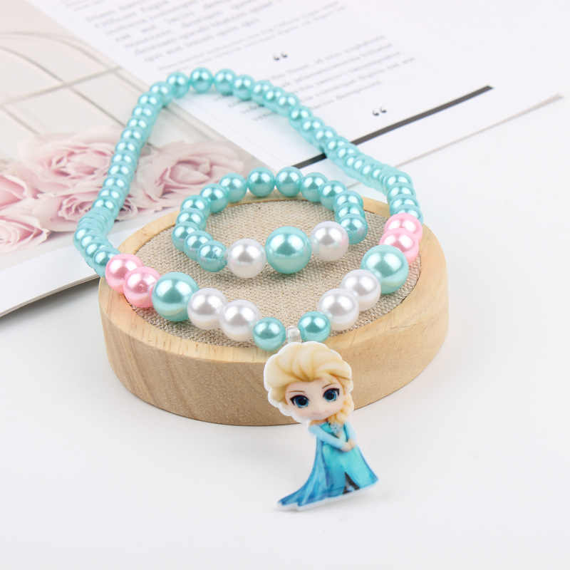 2pcs Disney Princess Cartoon Children's Necklace Frozen Elsa Bracelet Accessories Girl Gift Jewelry doll cosmetic bangles