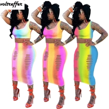 8c5bf7566f Rainbow Gradient Color Tye Dye Printed Two Piece Bodycon Bandage Dress Maxi  Dresses Long Sexy Hole