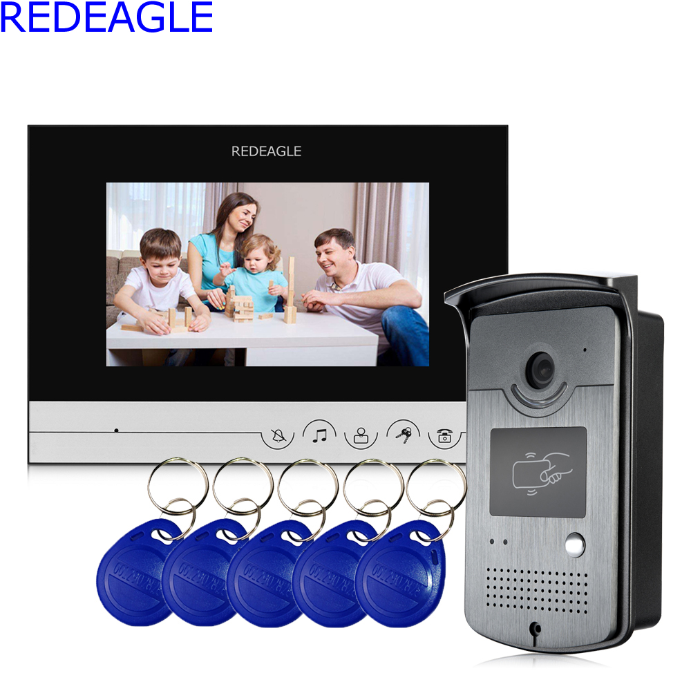 REDEAGLE 7 inch Touch Key Color Screen LCD Video Door Phone Intercom System with 1 Monitor + Metal RFID Reader Access Camera
