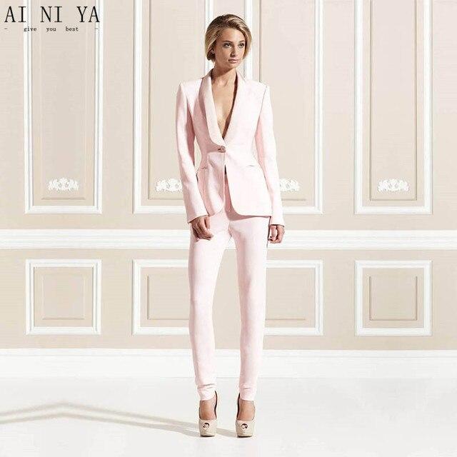 Traje chaqueta pantalon mujer rosa