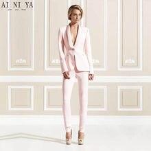 671f5385e5a0 Jacket+Pants Pink Women Business Suits Formal Office Uniform 2 Piece Sets  Ladies Elegant Pant Suits Female Trouser Suit Custom