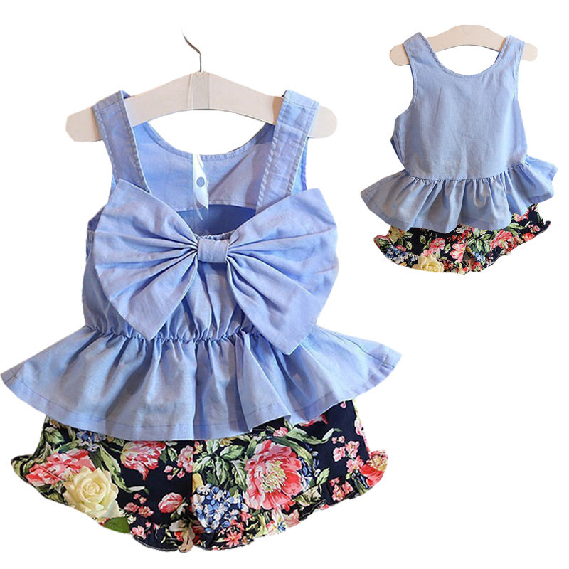 8a09c95a26d0f Baby Girls Kids Casual Clothes Babies Girl Bow Backless T-shirt Tops  +Floral Shorts