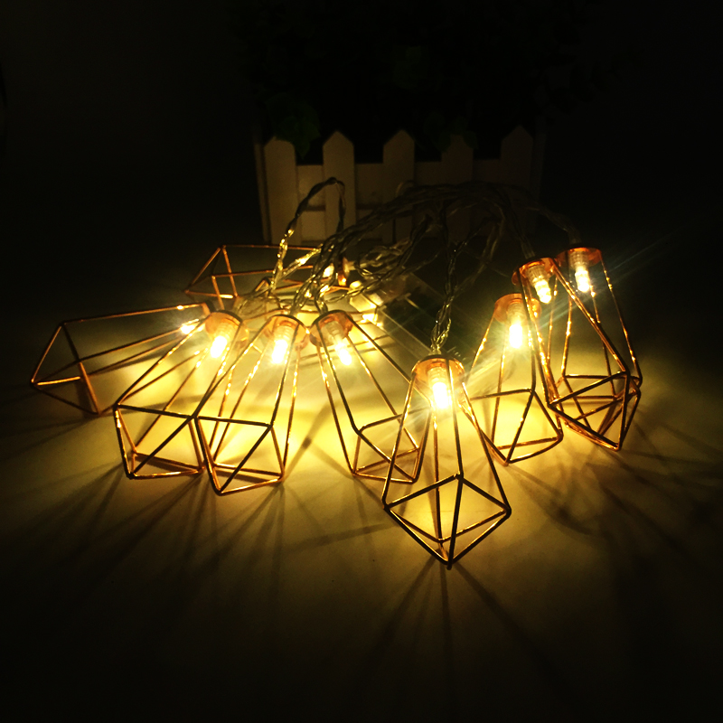 Retro Iron Metal Diamond LED Fairy String Lights Battery Xmas Holiday Wedding Party Home Decoration 10Leds Lantern String Lamps (6)