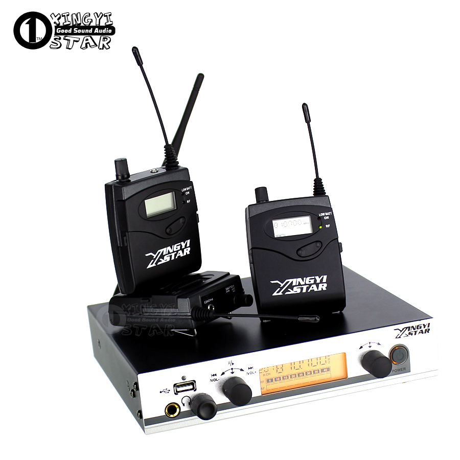 Wireless In Ear Monitor Professional Stage Monitoring System 3 Bodypack Receiver Cordless 1 USB Transmitter Monitors in Earphone wireless pager system 433 92mhz wireless restaurant table buzzer with monitor and watch receiver 3 display 42 call button