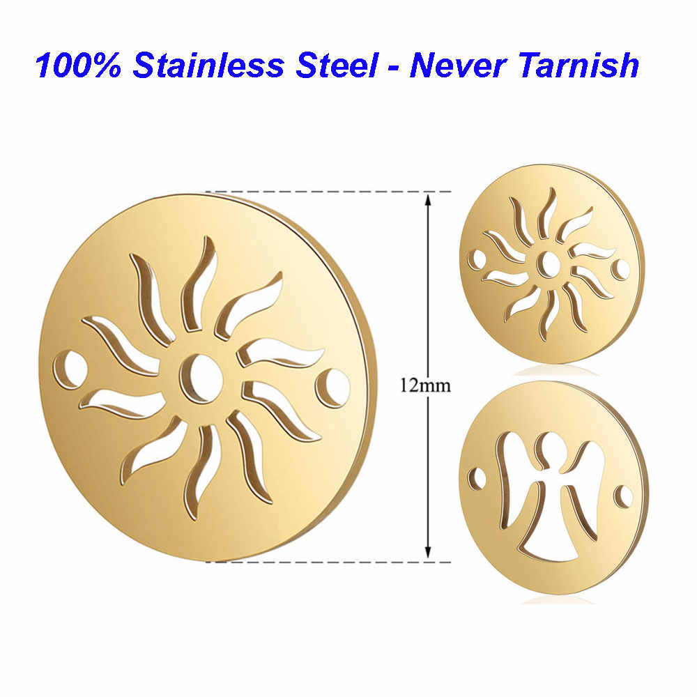 5pcs/lot 100% Stainless Steel Sun Charms Angel Charms Vnistar High Polish DIY Charms Connectors for Bracelets Wholesale