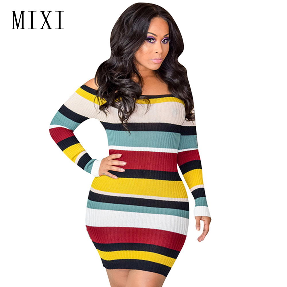 MIXI Sexy Off Shoulder Striped Sweater Dress Women Slash Neck Long Sleeve Bodycon Knitted Dress Eegant Short Club Party Dresses sweet off the shoulder long sleeve bodycon sweater dress for women