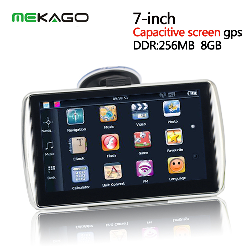 free shipping 7 inch capacitive screen car gps navigator 800mhz cpu gps built in 8gb ddr 256. Black Bedroom Furniture Sets. Home Design Ideas