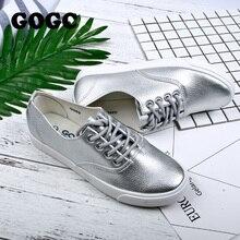 GOGC 2017 Flat Shoes Women Breathable Women Sneakers Footwear High Quality Silver Black White Women Flats Casual Shoes Slipony