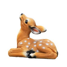 artificial prone sika deer model 25x13x21cm Environmental resin garden decoration Sculpture handicraft,Pastoral toy gift a0170