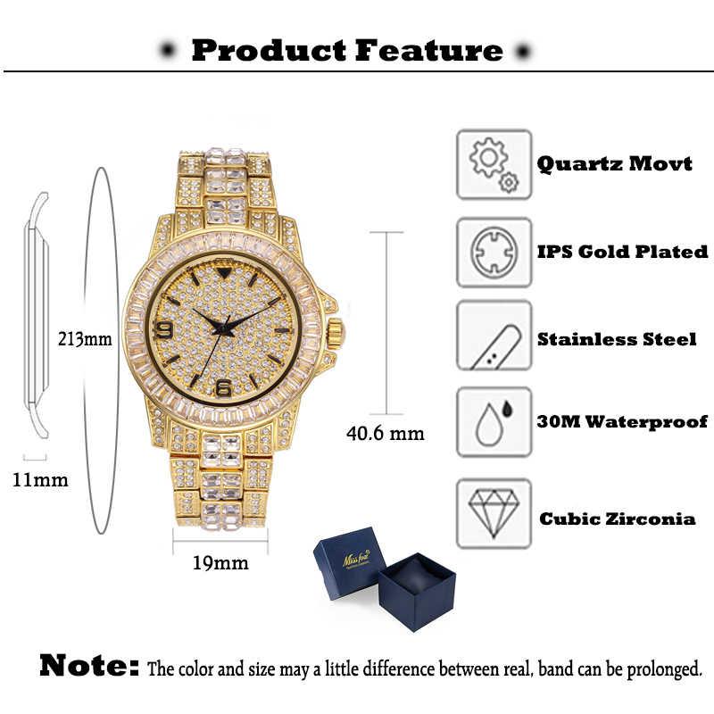 MISSFOX גברים של שעונים גברים 2019 בגט יהלומי שעון גברים יוקרה מותג איש שעון 18 K זהב עמיד למים שעון קוורץ שעוני יד