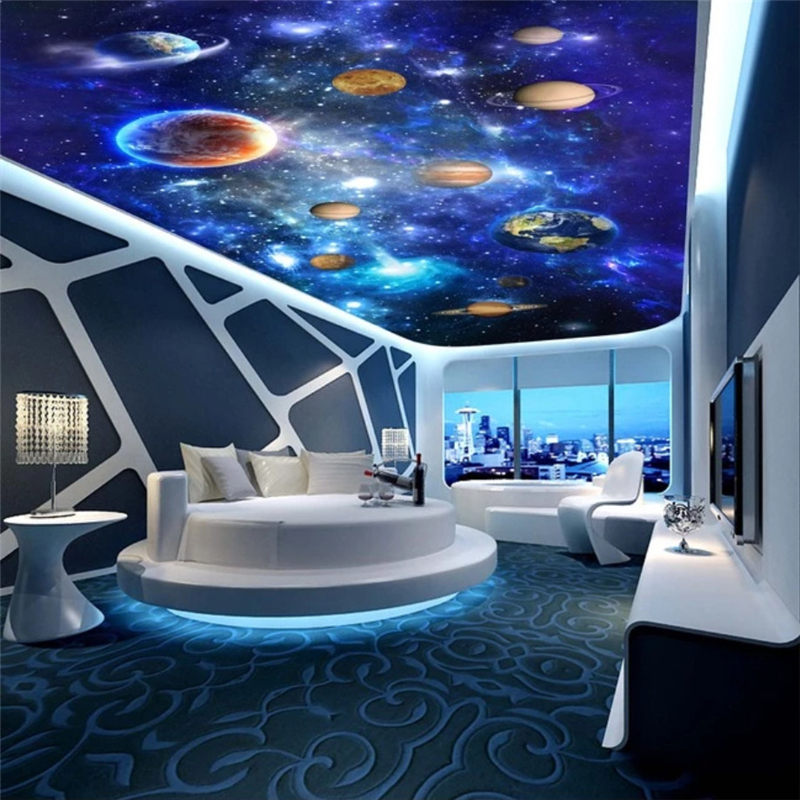 Beibehang papel de parede 3d Home Decoration 3d wallpaper Cosmic Galaxy Sky 3D Floor wallpaper Living room ceiling wall paper custom wallpaper ceiling murals palm blue sky for the living room ceiling apartment hotel background wall vinyl papel de parede