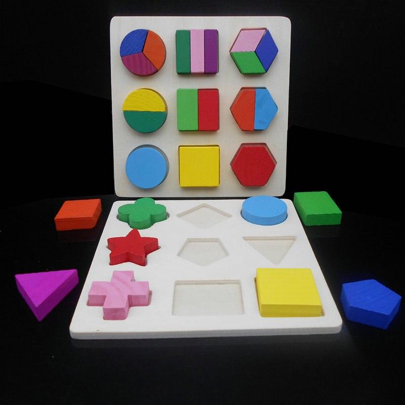 O envio gratuito de Aprendizagem Educação Montessori Matemática Brinquedos De Madeira Puzzle Brinquedos Para Crianças Educacional Equipamentos Recursos Geometria