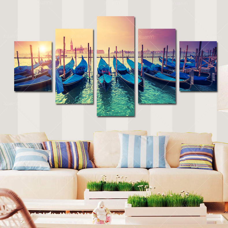 Aliexpress Com Buy 5 Panels Dusk Sunset Boat Printed: Popular Harbor Boats-Buy Cheap Harbor Boats Lots From