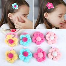 1PC Children Girl Elastic Hair Bands Cute Hairpins Beautiful Cloth Flower with Ball Rubber Clip Accessories