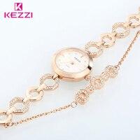 Hot KEZZI Brand Quartz Watches Women Trend Style Luxury Crystal Golden And Silver Bracelet Watch Ladies