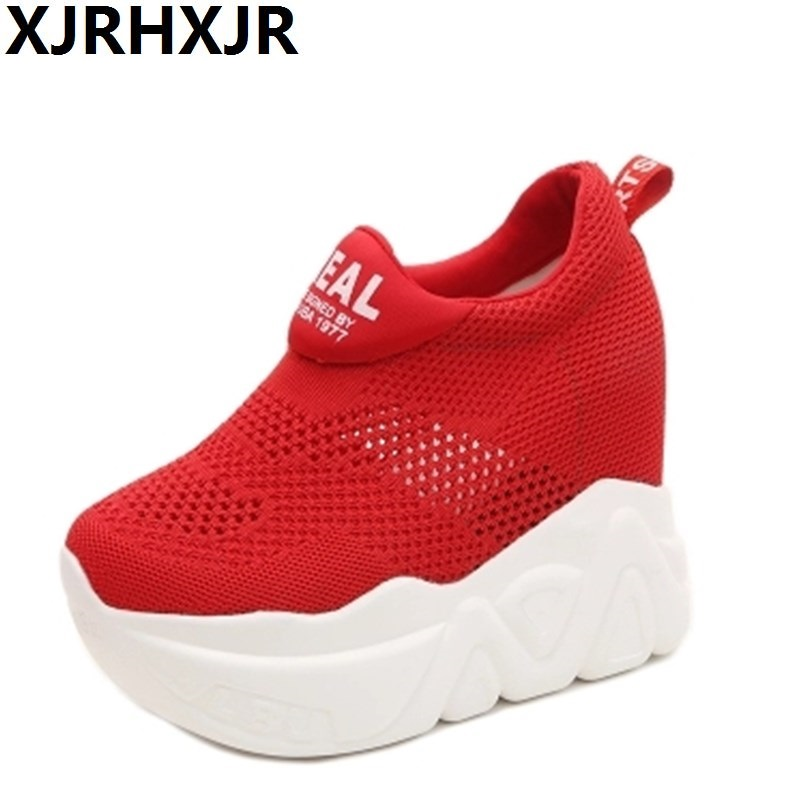 2018 New Women Casual Shoes Height Increasing Slip-on Breathable Women Walking Flats Trainers Shoes Autumn Platform 12cm Heels minika women casual canvas shoes air cushion soles slip on swing fitness shoes platform wedges walking height increasing shoes