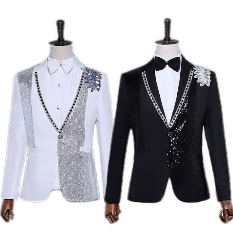 HO 2020 Shiny Piece Of Black And White Set Auger Blazer Costumes Blazer Host Dress Stage Singer
