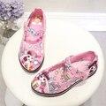 Hot New Meninas Princesa Sapatos Da Moda Rosa Dos Desenhos Animados Crianças de Couro Pintura Sapatos Único de Alta Qualidade Bonito Da Menina 3D Sneakers26-36