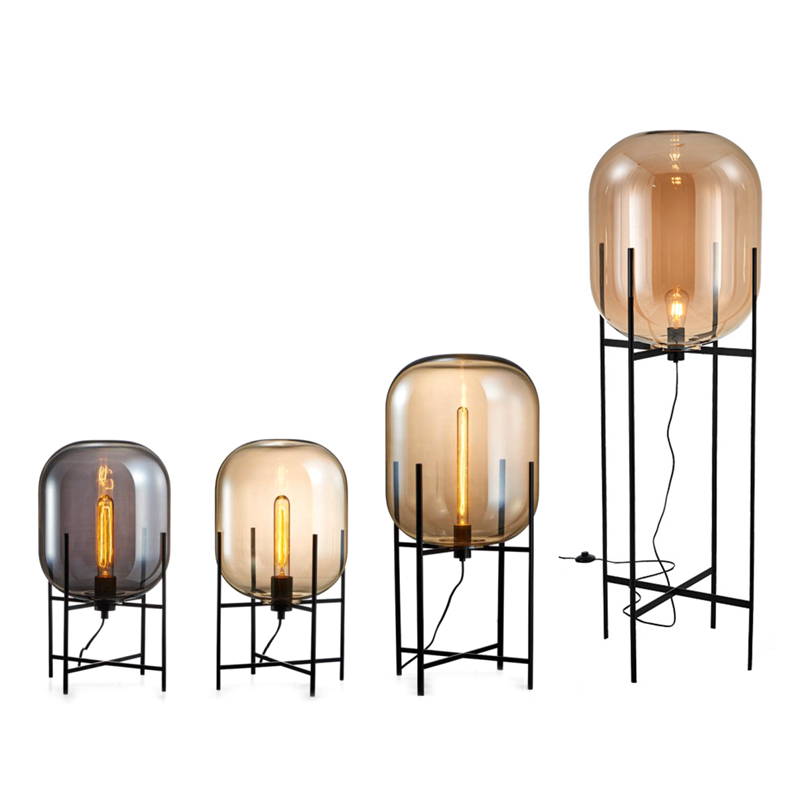 Toolery Nordic Minimalista moderna lâmpada de Assoalho Lâmpada de Mesa de Luz Lâmpada de Mesa sala de estar lâmpada de Leitura Abajur De Vidro Âmbar luz Chão E27