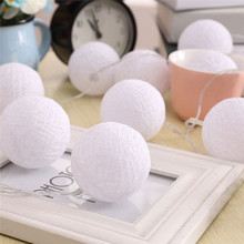 3M 20 LED Cotton Ball Globe String Lights Warm White Battery Powered Fairy Lantern For Garden Party Home Decoration