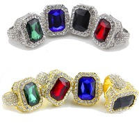 Gold Silver Plated Big Crystal Iced Out Square Stud Rings Unisex Hip Hop Style Bling Bling Rings Jewelry One Size